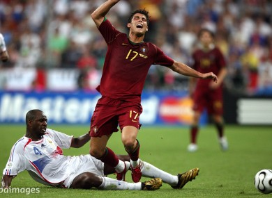 France's Patrick Viera tackles Portugal's Cristiano Ronaldo during the 2006 World Cup.