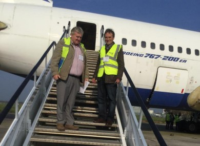 David (right) with the Boeing 767