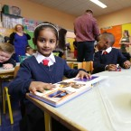 Amaris Soni (5) from Dublin starting her first day in Junior Infants in Gardiner Street Convent School <span class=