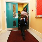 Jaden Twene (4) from Kenya living in Dublin starting his first day in Junior Infants in Gardiner Street Convent School<span class=