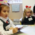 Lacey Weldon (4) from Dublin starts her first day in Junior Infants in Gardiner Street Convent School <span class=
