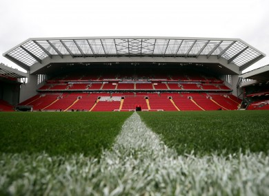 The main stand at Anfield.