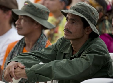 Rebels of the Revolutionary Armed Forces of Colombia, FARC, watch the signing of the peace accords during an event organized by rebels of the Revolutionary Armed Forces of Colombia, FARC.