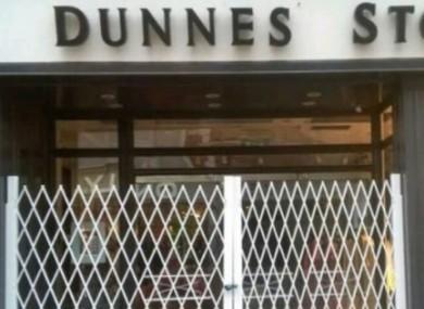 Gates outside Dunnes Stores on Grafton Street in Dublin.