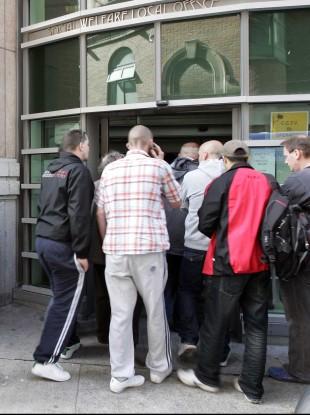 Social welfare queues in Dublin.