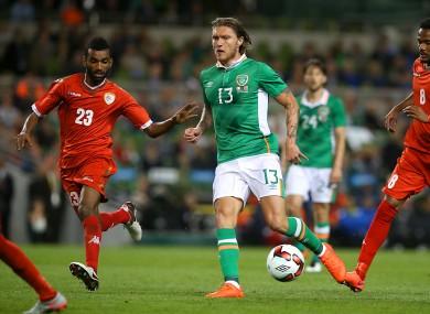 Hendrick playing against Oman at the Aviva Stadium on Wednesday night.