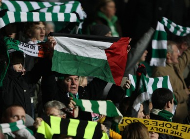 A Celtic fan with the Palestine flag (file photo).