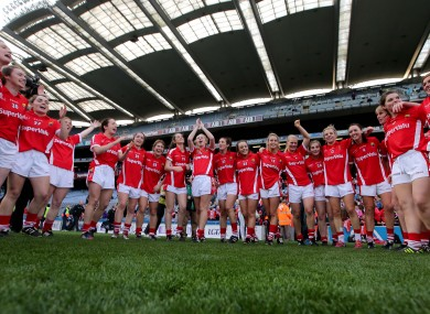 The Cork team celebrate winning the TG4 All-Ireland senior ladies football final against Dublin last September.