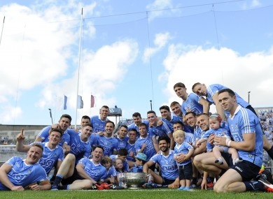 The Dublin players celebrating their Leinster final win in July