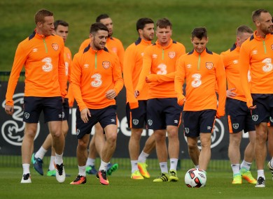 Adam Rooney (far left) with the squad today.