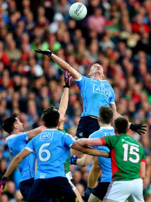 The incident that saw Ciaran Kilkenny concede a free in Saturday's clash between Dublin and Mayo.