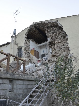 A view of a damaged house in the village of Pieve Torina, Italy.