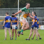 Michael Murphy celebrates Glenswilly's latest title at the final whistle.<span class=