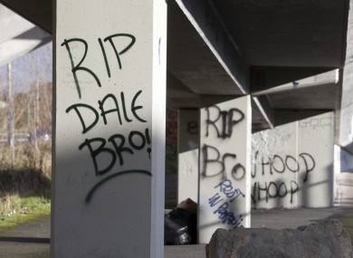 A tribute to Dale Creighton at the Tallaght dual carriageway.