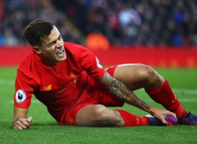 Coutinho went off after 34 minutes on Saturday.