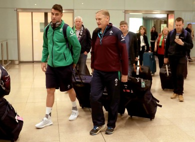 Ireland coach Joe Schmidt (right) and Conor Murray at Dublin airport this morning.