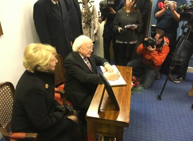 President Michael D. Higgins signing the book of condolences for late Cuban leader Fidel Castro this morning.
