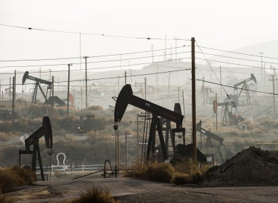 Pumpjacks extract oil from an oilfield in Kern County, California, where about 15 billion barrels of oil could be extracted using hydraulic fracturing.