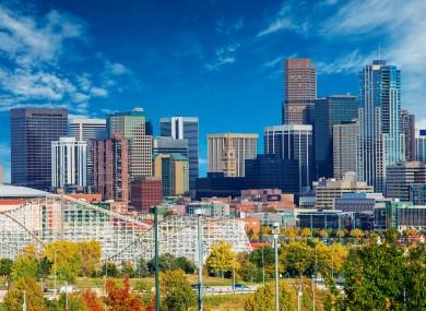 A view of the Denver skyline.