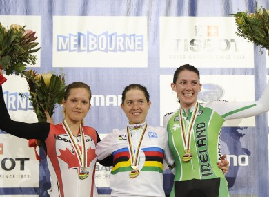 Ryan celebrates her World rack Cycling bronze medal in Melbourne back in 2012.