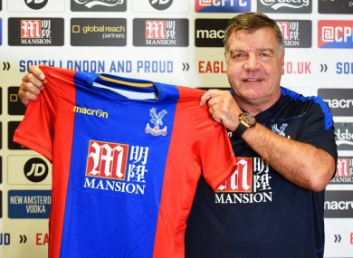 Allardyce with the Palace jersey.