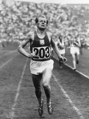 Emil Zatopek pictured competing at the Olympics.