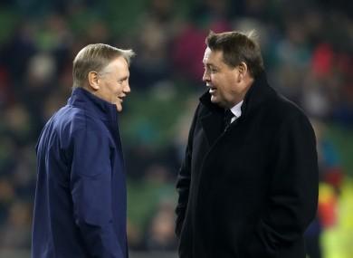 Ireland head coach Joe Schmidt and Steve Hansen prior to the Autumn International match at the Aviva Stadium.