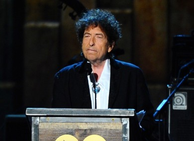 Bob Dylan accepting the MusiCares Person of the Year award in 2015.