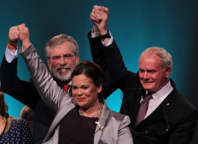 Mary Lou McDonald with Gerry Adams and Martin McGuinness at last year's Ard Fheis.