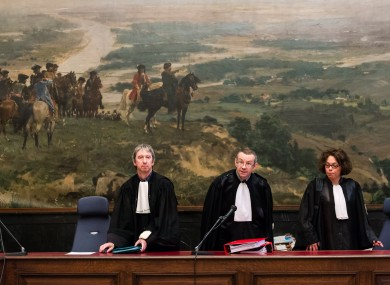 Judges arrive for a trial of a suspected extremist cell at the Justice Palace in Brussels last year.