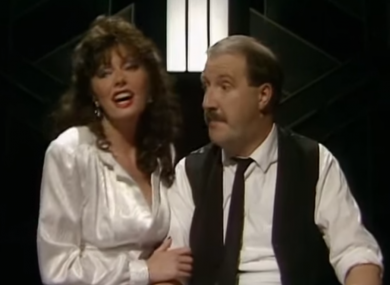 Kaye as Allo Allo's Rene and Vicki Michelle as Yvette on the Wogan Show in  1986