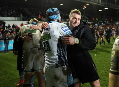 Glasgow Warriors Stuart Hogg and Pete Murchie celebrate their victory over Leicester Tigers.