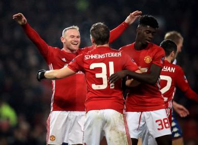 Manchester United's Bastian Schweinsteiger celebrates scoring his side's fourth goal.