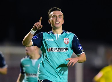 Aaron McEneff celebrates after opening the scoring for Derry City.