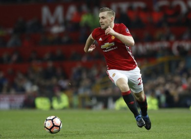 Manchester United's Luke Shaw during the Emirates FA Cup, Fourth Round match at Old Trafford.