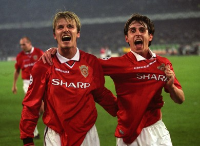 Beckham on his way to winning the Champions League with Manchester United.