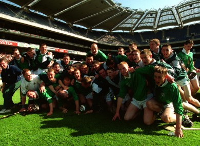 The St Colman's team celebrating their 2001 Croke Cup final win.