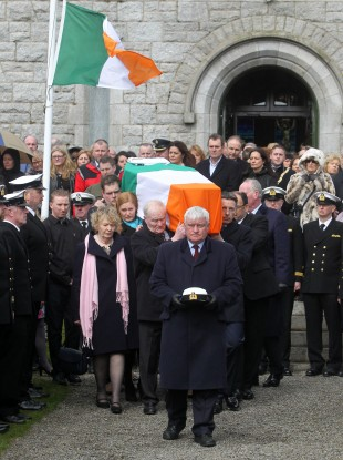 Hundreds of mourners gathered at St Patrick's Church in Glencullen, Dublin for the funeral of Captain Dara Fitzpatrick.