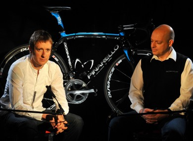 Bradley Wiggins and Dave Brailsford at a press conference in 2009.