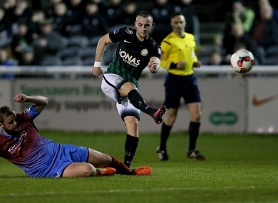 Bray's Dylan Connolly unleashes a strike on goal.