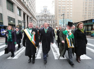 Taoiseach Enda Kenny (centre) takes part in the annual St Patrick's Day parade in Philadelphia, as part of his US visit.