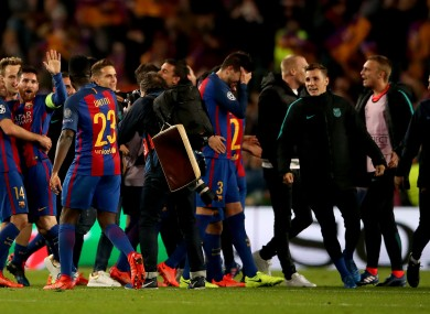 Barcelona players react after last night's match.