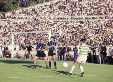 Bertie Auld of Celtic shoots during the European Cup final against Inter Milan.