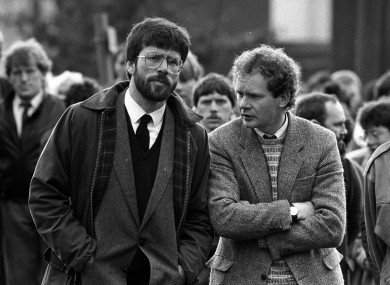 Gerry Adams and Martin McGuinness at the funeral of Patrick Kelly, 30, the reputed IRA commander in East Tyrone, in May 1987.
