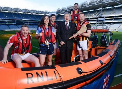Brian Hurley, Lyndsey Davey, Killian Young, broadcaster Mícheál Ó Muircheartaigh, Neil McManus, and Jackie Tyrell, at Croke Park.