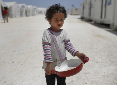 A Syrian child at a refugee camp.