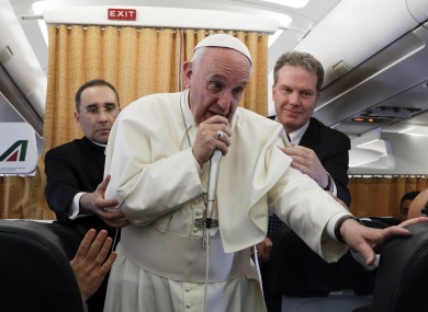 Pope Francis speaks on board his flight from Cairo to Rome.