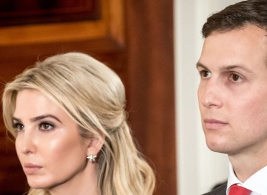 Ivanka Trump and Jared Kushner watch the press conference of German chancellor Angela Merkel and US President Donald Trump in Washington earlier this month
