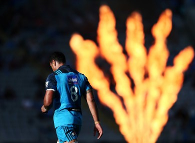 Blindsided: Kaino, wearing number 8 in this win over the Force, may have to settle for a role in the latter two Tests.