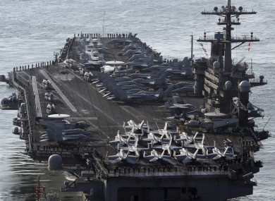 supercarrier the uss carl vinson will arrive in the sea of japan